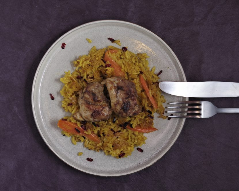 Persischer Berberitzenreis mit Hühnchen